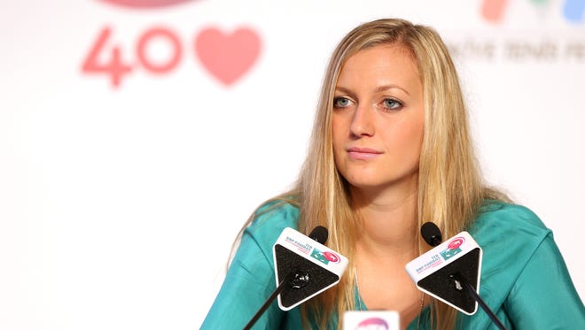 Petra Kvitova of Czech Repubic fields questions from the media at the WTA All Access Hour.