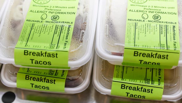 Breakfast tacos at Green Heart Meals in Lafayette Friday,
