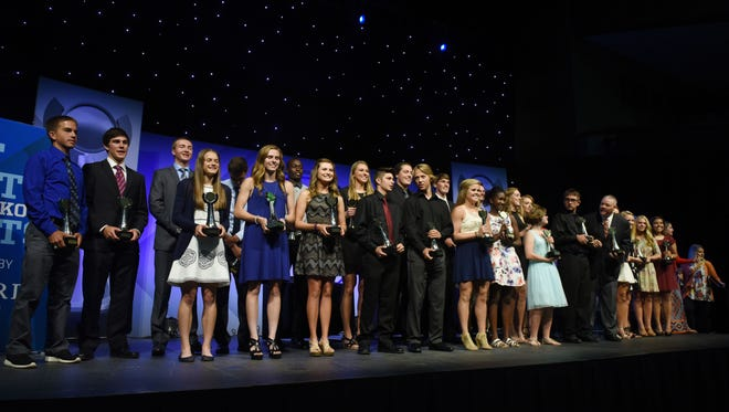 Winners gather on the stage after Argus Leader Media's SD Sports Awards at the Sanford Pentagon on Friday, June 3, 2016.