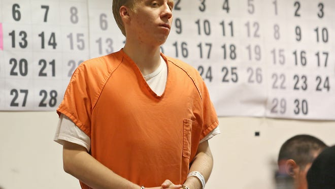 Sean Clarke appears in court for his alleged felony possesion of explosive devices at the Sungate Country mobile home park in Cathedral City on June 24.  Clarke appeared at the Larson Justice Center in Indio, Friday, August 8, 2014.