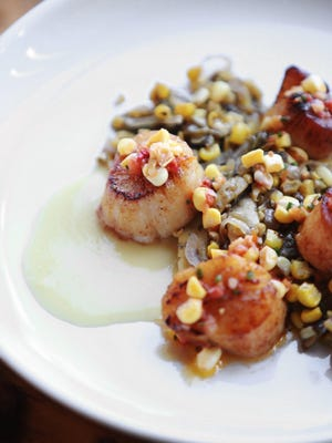 Pan-roasted scallops with corn pudding, succotash and fermented corn relish was served at the Top 10 Takeover dinner at Gold Cash Gold.