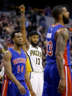 Indiana Pacers forward Paul George (13) celebrates hitting a three-point shot in the second half of their game Wednesday, March 8, 2017, evening at Bankers Life Fieldhouse. The Indiana Pacers defeated the Detroit Pistons 115-98.