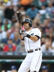 Ian Kinsler bats against the Dodgers during the first