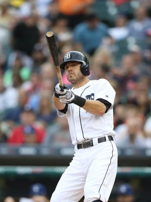 Ian Kinsler bats against the Dodgers during the first inning Friday, Aug. 18, 2017 at Comerica Park.