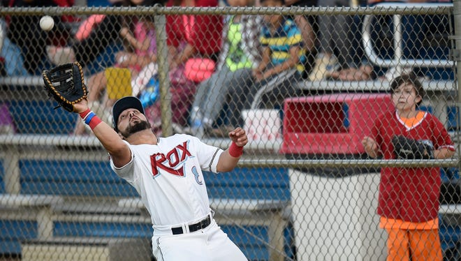 St. Cloud's Rox first baseman Ricky Ramirez catches a ball in foul territory during Thursday's game against the Rockford Rivets at Joe Faber Field in St. Cloud.
