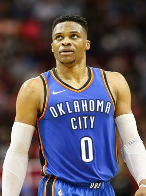 Oklahoma City Thunder guard Russell Westbrook looks up after a play during the first half against the Houston Rockets at Toyota Center.