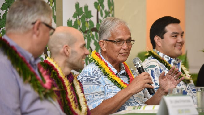 University of Guam President Robert Underwood speaks during a press conference at the 8th Regional Island Sustainability Conference at the Hyatt Regency Guam in Tumon on April 18, 2017.