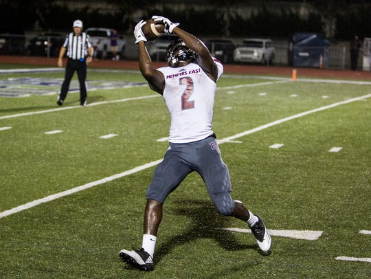 Whitehaven's Keveon Mullins (shown here playing for East last season) is Shelby County's leading returning pass-catcher.