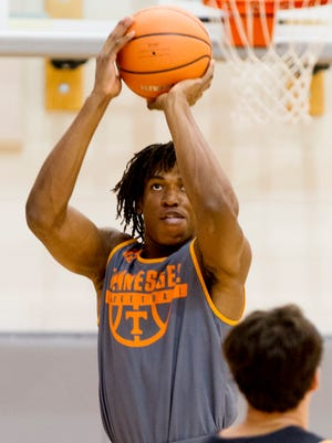 Yves Pons (35) during team practice at Pratt Pavilion in Knoxvile, Tennessee on Thursday, October 5, 2017.