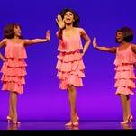 "Krisha Marcano (Florence Ballard), Allison Semmes (Diana Ross) and Trisha Jeffrey (Mary Wilson) perform as The Supremes in ""Motown the Musical."""