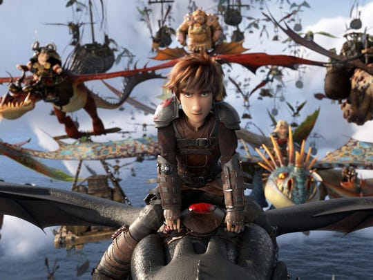 "Hiccup (voiced by Jay Baruchel) and Toothless take to the sky in ""How to Train Your Dragon: The Hidden World."""