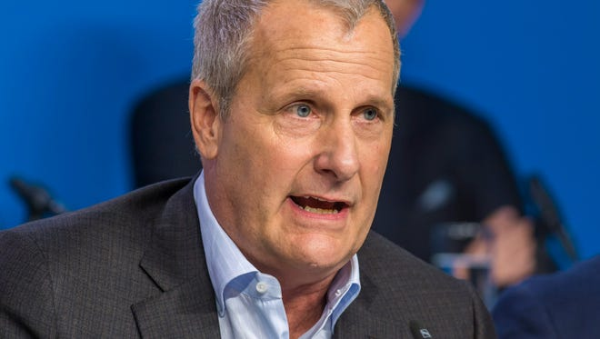 """Jeff Daniels talks about 'The Martian"""" at a press conference for the movie 'The Martian' during the 40th annual Toronto International Film Festival."""