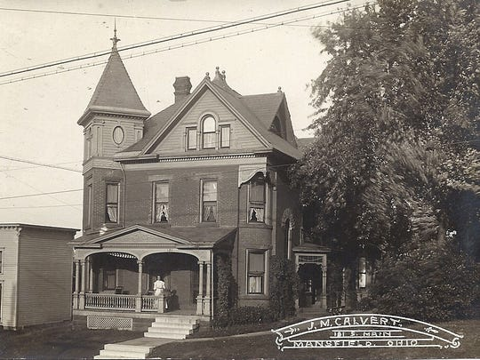 This post card from James Calvert depicts Ritter House on South Main Street in the early 1900s. The home's unique design, worthy of a post card, was clearly built for a man of some importance with the tastes of the city's then upper-middle classes. Its location on South Main Street, however, is something of an anomaly. Most of the larger homes were located in the more popular western side of the city on Park Avenue West.