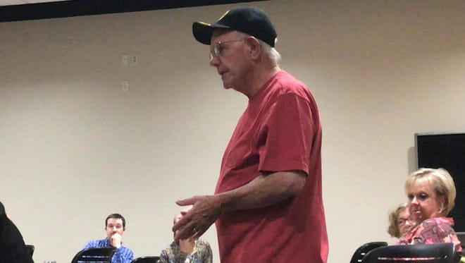 Hansel Keene, Howell resident and American Legion member, advocates in support of the American Legion's proposed billboard Tuesday June 26, 2018.