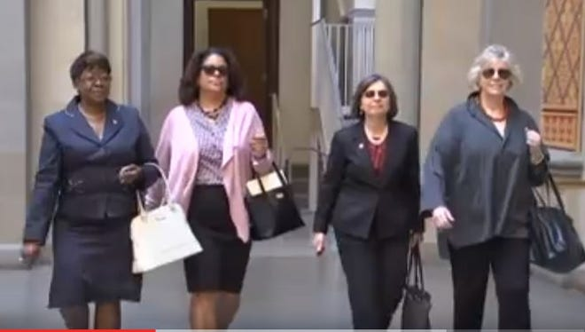 A still from the video features, from left, Assemblywomen Crystal Peoples-Stokes, D-Buffalo; Pamela Hunter, D-Syracuse; Donna Lupardo, D-Endwell; and Didi Barrett, D-Hudson. .
