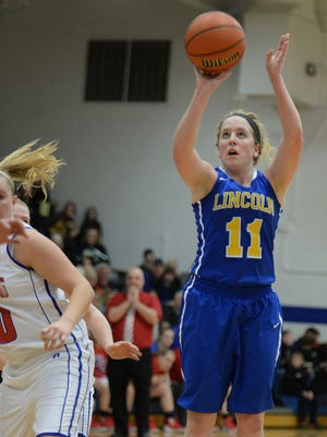 Lincoln's Emmie Pugh gets open for a jump shot against Union County during the class 2A girls basketball sectional Friday, Feb. 5, 2016, at Union County High School in Liberty.