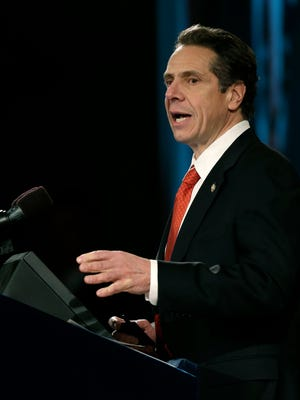 New York Gov. Andrew Cuomo delivers his annual State of the State address at the Empire State Plaza Convention Center on Wednesday, Jan. 8, 2014, in Albany, N.Y.