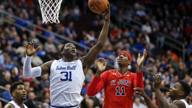 Seton Hall forward Angel Delgado (31) grabbed 20 rebounds against St. John's.