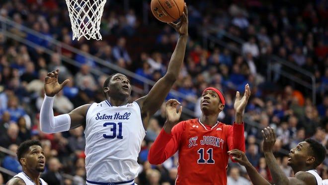 Seton Hall forward Angel Delgado (31) grabbed 20 rebounds against St. John's.