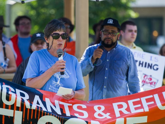 Tammy Shull, of Mt. Pleasant, speaks during a Families