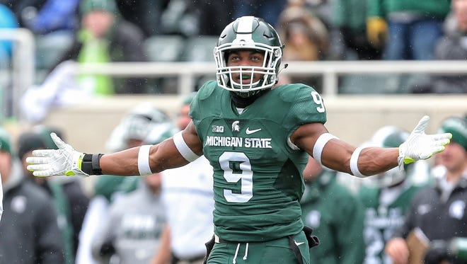 Nov 19, 2016; East Lansing, MI, USA; Michigan State Spartans safety Montae Nicholson reacts to a play during the first half against the Ohio State Buckeyes at Spartan Stadium.