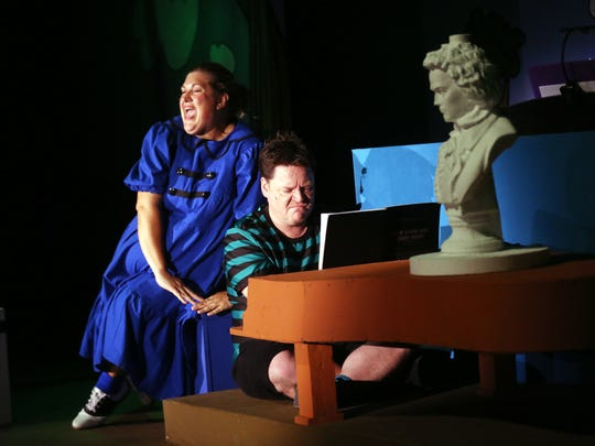 "Rachel Duncan's Lucy tries to spark the interest of Schroeder, played by Jeff Witt, in the Pentacle Theatre's musical play ""You're a Good Man, Charlie Brown."""