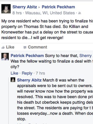A screenshot of the Facebook post where City Council member Sherry Abitz says she will have revenge on those postponing a vote.