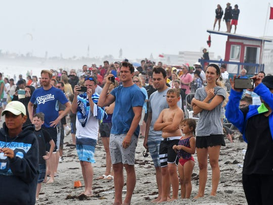 The beach was crowded a year ago during Thunder on Cocoa Beach despite rainy and windy conditions.
