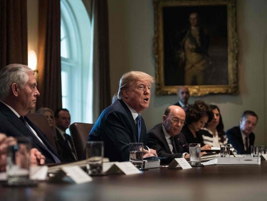 President Trump speaks during a cabinet meeting at