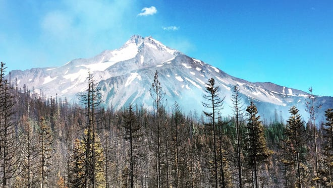 Scenes from the Whitewater Fire burning in the Mount Jefferson Wilderness.