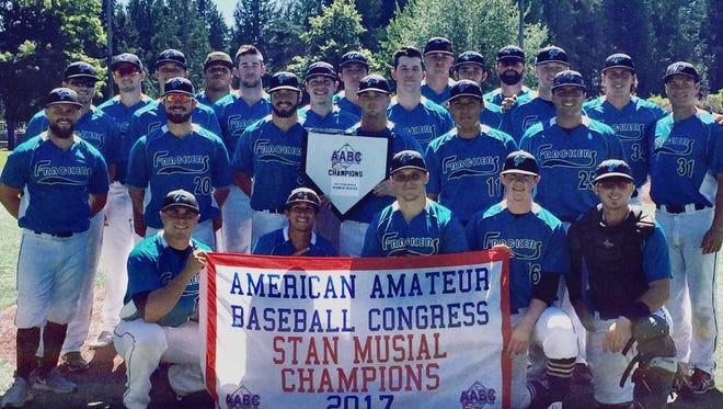 The Farmington Frackers pose for a photo after winning the Stan Musial World Series in Seattle.