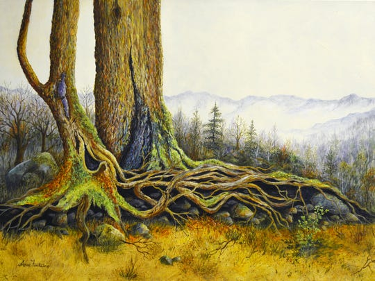 """This acrylic on canvas """"Tangled Tree Roots"""" by Anne"""