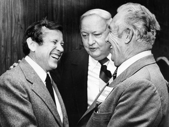 U.S. Sen. Howard Baker, left, is one of the few Republicans