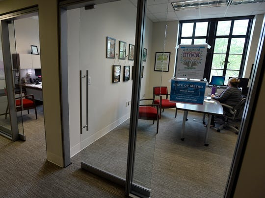 New sliding glass office doors for staff members next