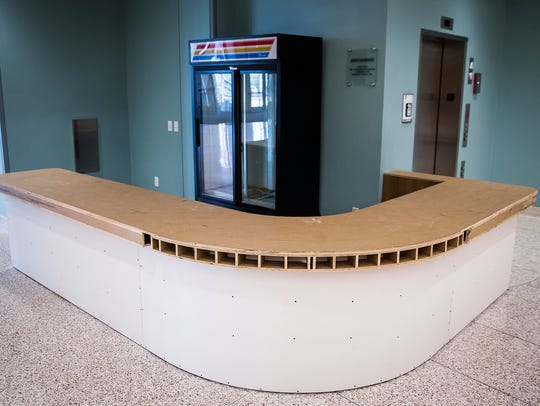 An unfinished concession stand at Emens Auditorium.