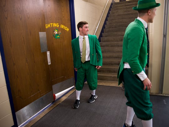 Connor Delaney (left), and fellow leprechaun hopeful