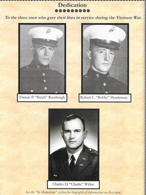 Blue Devils in Vietnam's dedication page shows all three soldiers: Francis P. Rosebrugh, Robert C. Henderson and Charles D. Wilkie.