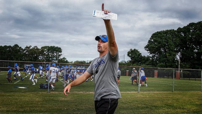 August 11, 2016 - University of Memphis head coach Mike Norvell shouts instruction while walking between fields during preseason training camp on the Lambuth Campus in Jackson, Tenn.  (Mark Weber/The Commercial Appeal)
