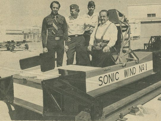 Dr. John Paul Stapp rides the Sonic Wind No. 1 at a