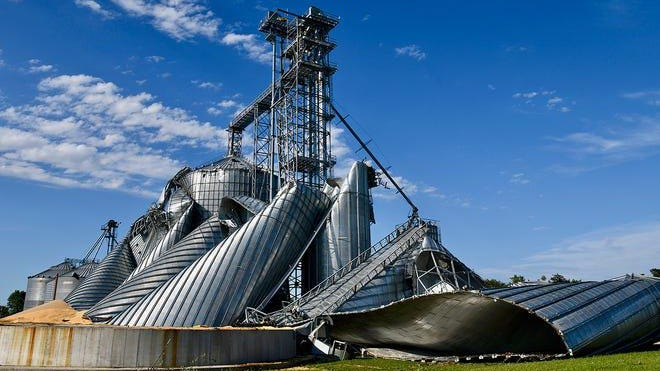 Heavy straight-line winds destroyed a grain elevator in Luther. The storm, a derecho, ripped through central Iowa Monday, taking down trees and leaving at least 480,000 Iowans without power.