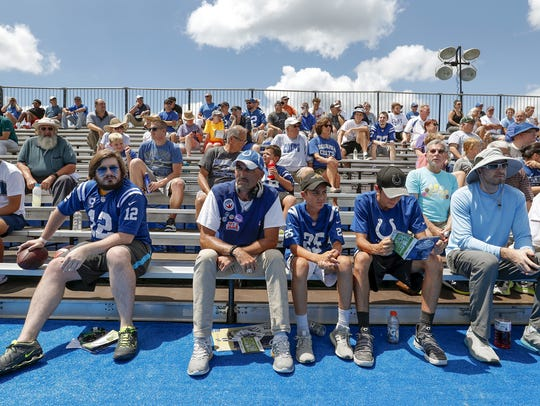 Indianapolis Colts fans watch their team practice during