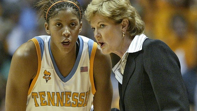 Tennessee coach Pat Summitt, right, talks with Candace Parker during their college basketball game against Stanford Friday, Nov. 24, 2006 in Knoxville, Tenn. Parker scored 25 points in the 77-60 win.
