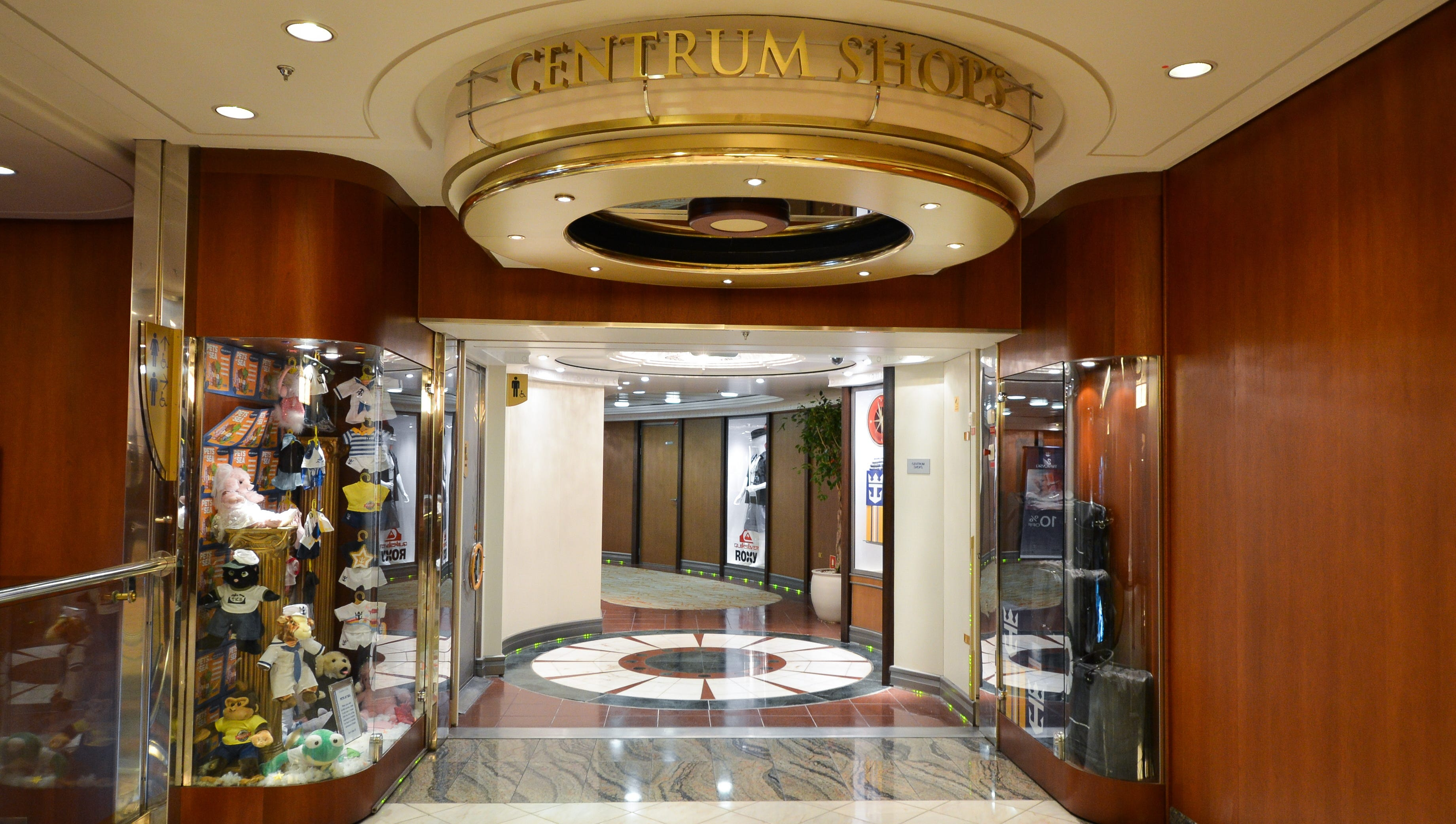 The Centrum Shops are only open when the ship is at sea.