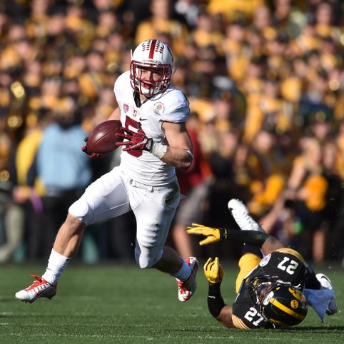 <p><strong>Christian McCaffrey, Stanford, Junior:</strong> McCaffrey broke the FBS single season all-purpose yards record last season as he was named a USA TODAY Sports first-team All-American. After finishing as runner-up for the Heisman Trophy last season, he should contend for the award again this year as arguably the country's most versatile playmaker.</p>