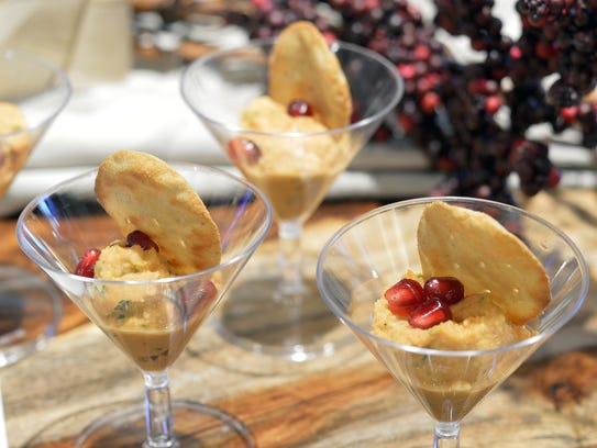 Homemade Moroccan hummus is served in martini glasses