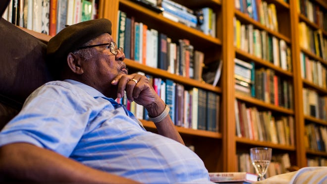 """Author Ernest Gaines speaks about his career and the 50th anniversary of the release of his debut novel """"Catherine Carmier"""" during an interview at his home in Oscar, La., Tuesday, Sept. 23, 2014.  Paul Kieu, The Advertiser"""