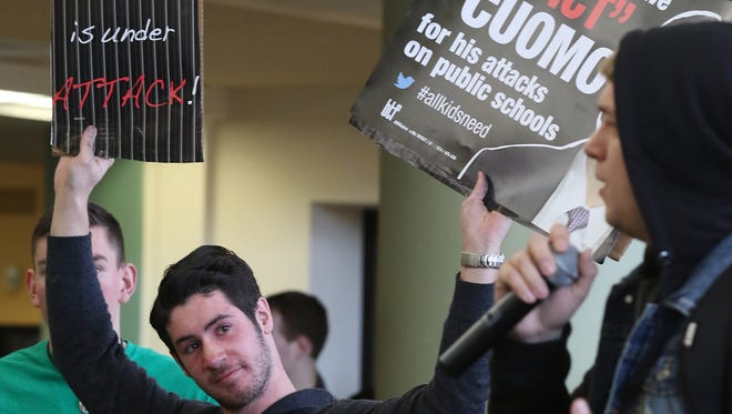In this file photo, students at The College at Brockport gathered at Seymour College Union to protest Gov. Andrew Cuomo's budget proposal to increase tuition at the SUNY schools.
