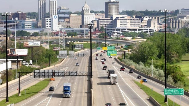 This 2015 photo shows vehicles entering Peoria on westbound Interstate 74 as seen from atop the Fondulac Bridge in East Peoria.