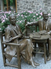Statues of Eleanor and Franklin D. Roosevelt outside the Henry A. Wallace Visitor and Education Center on the Roosevelt estate in Hyde Park, which also includes the Franklin D. Roosevelt Presidential Library and Museum and Home of FDR National Historic Site.