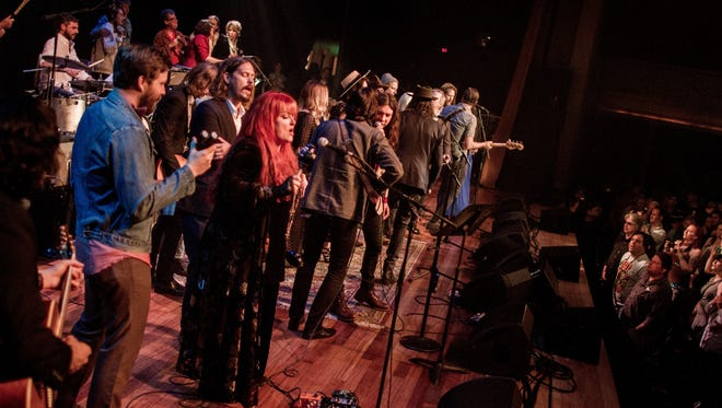 """Performers gather for the finale of """"Dylan Fest"""" last year at Ryman Auditorium."""